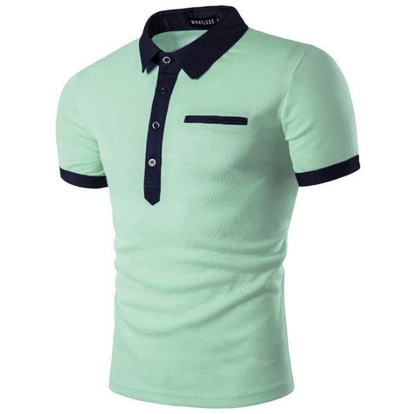 Negócios casual camisa polo simples moda clássico de manga curta homens de escritório diário de negócios camisa