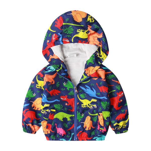 2019 patlama çocuk giyim çocuk su geçirmez rüzgarlık ceket karikatür kapşonlu uzun kollu gömlek dinozor baskı çocuk sonbahar c