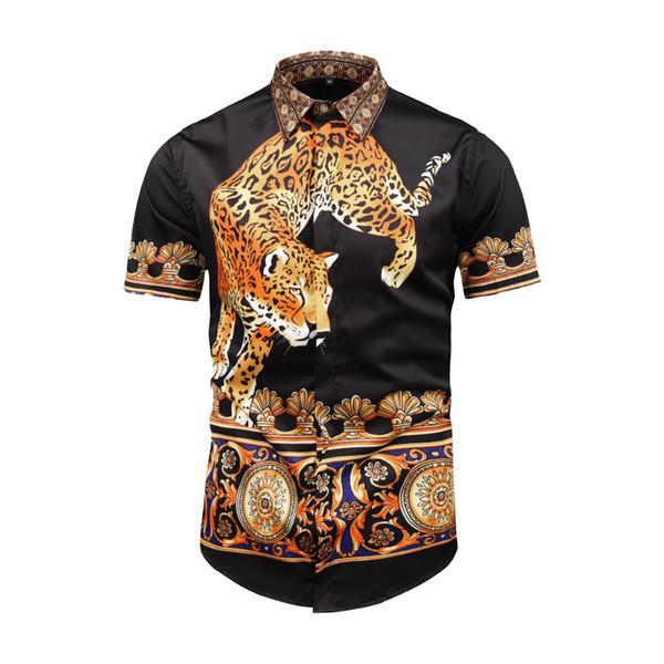 2019 истинный гуляка животных леопард печати рубашки мужчины с коротким рукавом 3D Пантера Тигр блузка мода цветок характер ангел рубашка