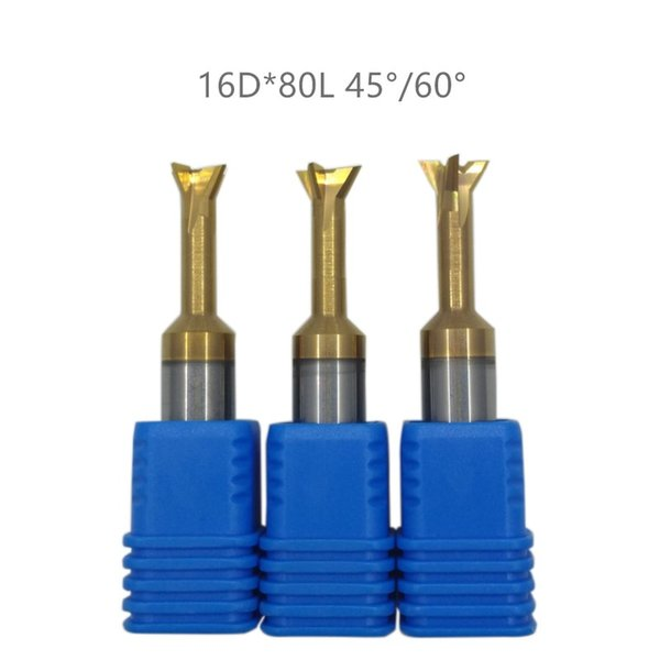 3PCS Diameter 16mm*length 80mm solid tungsten carbide dovetail 45/60 angle coating end mill,milling cutter cnc cutter bits