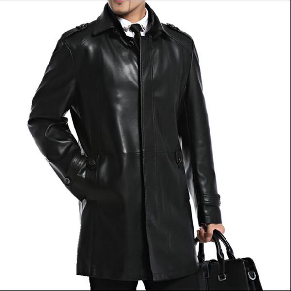 a5152ae68cd Мужские кожаные куртки из овчины Мужские куртки и пиджаки Осень  Повседневная куртка Мужская мода Long Man