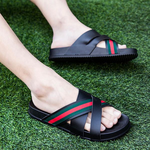 Тапочки мужские летние на открытом воздухе слово перетащить пляжные сандалии сандалии в елочку корейской моды носить случайные личности прилив