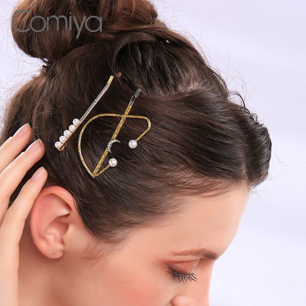 Comiya forme las horquillas Establece para las mujeres Barrettes Declaración de la luna de plata redondo de acrílico del color mosaico perlas joyería coreana de la horquilla