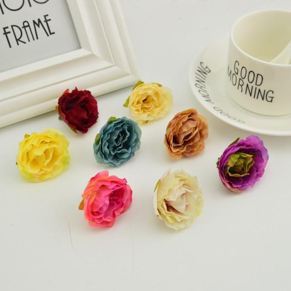 bahçe DIY düğün dekoratif çelenk sahte çiçek duvar Ebedi çiçekler bilek korsaj ipek için 200pcs yapay çiçek başları gül