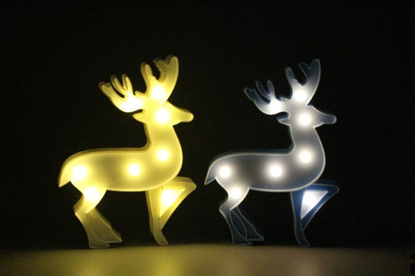Lovely 2019 3D Led Night Lamp Christmas Decoration Elk Deer Marquee Led Night Lights Warm White Luminaria Led Table Desk Wall Light