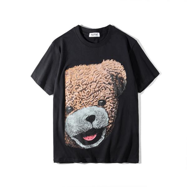 Herren Kurzarm T-Shirt Cute Cotton Bear gedruckt Designer Tees 2 Farben Sommer O Neck T-Shirt