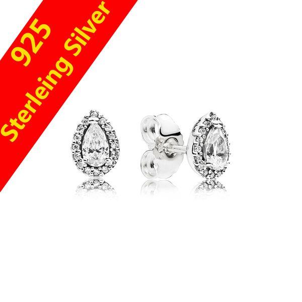 Auténtica plata esterlina 925 CZ Diamante Lágrimas Gotas Pendiente Joyería de regalo para Pandora Lágrimas radiantes Pendientes de botón Caja original Juego