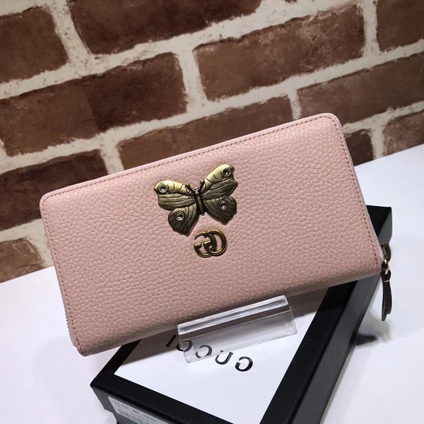 Top Quality 2019 Celebrity Design Letter Butterfly Insect Metal Buckle Zipper Wallet Long Purse Cowhide Leather 499363 Clutch