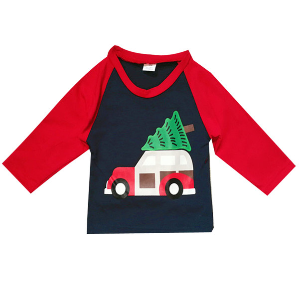 Kids Long Sleeve T Shirt Baby Boy Girl Lovely Truck Tree Print Christmas T Shirt Tops Spring Autumn Children Clothes