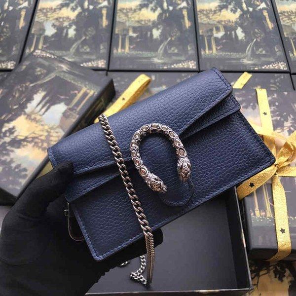 Klassische goldene Kettenhandtasche aus Rindsleder, Damen Umhängetasche Cross Body, Dunkelblau für Fashion Lady