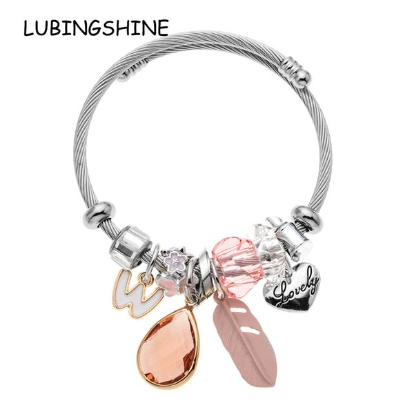 LUBINGSHINE Women Cuff Bracelets&Bangles Wire Stainless Steel Chain Crystal Love Heart Charms Pulseras Handmade DIY Jewelry