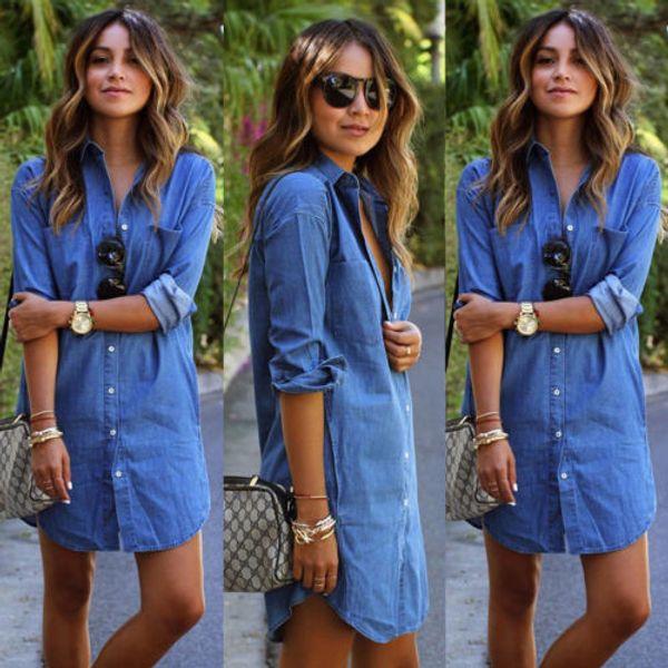 Calidad Buena para mujer Blue Jeans Denim camiseta manga larga Casual camisa suelta vestido corto ropa de mujer