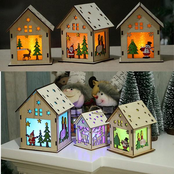 DIY Led Light House Wooden Craft Christmas Decoration for Home Desk Christmas Tree Decor Santa Clause Snowman Elk Hang Pendant