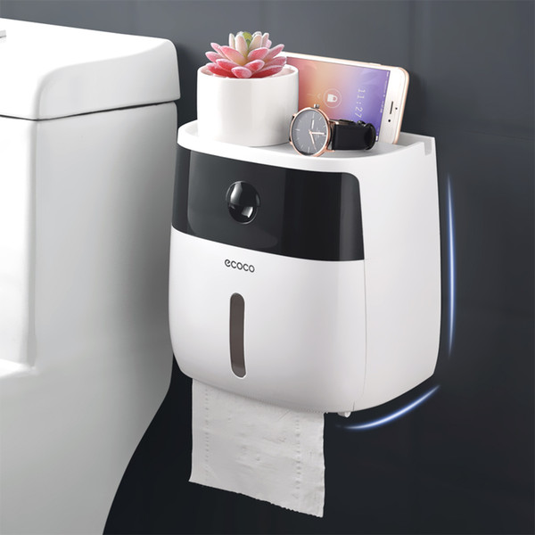 top popular Tissue Paper Box Holder Wall Mounted Toilet Tissue Dispenser Creative Plastic Box Bath Toilet Paper Holder Storage 2021