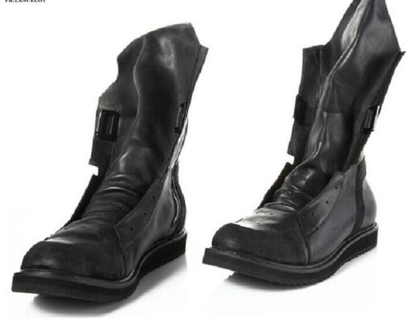 pensamientos sobre disponible la mejor actitud Compre 2019 Hombres De Moda Botas Botines De Tacón Grueso Botas De Martin  De Cuero Negro Zapatos De Fiesta Masculinos Punta Redonda Mujer Botas ...