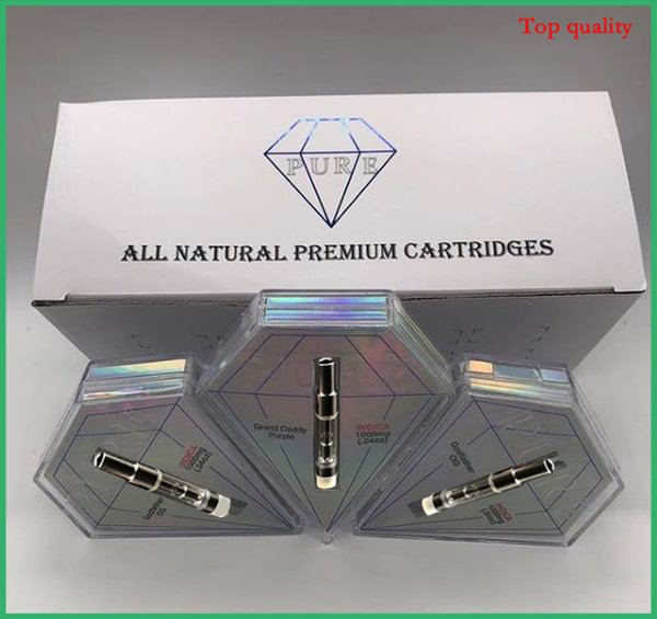 Diamond Shape Box Pure Atomizer Vape Tank Glass Cartridge Ceramic Carts 0.8ml Vaporizer Pens for Thick Oil DHL Free shipping