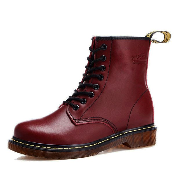 Chunky Motorcycle Boots for Women Winter Autumn 2018 Fashion Round Toe Lace-up Combat Martin Boots Ladies Shoes Red Snow