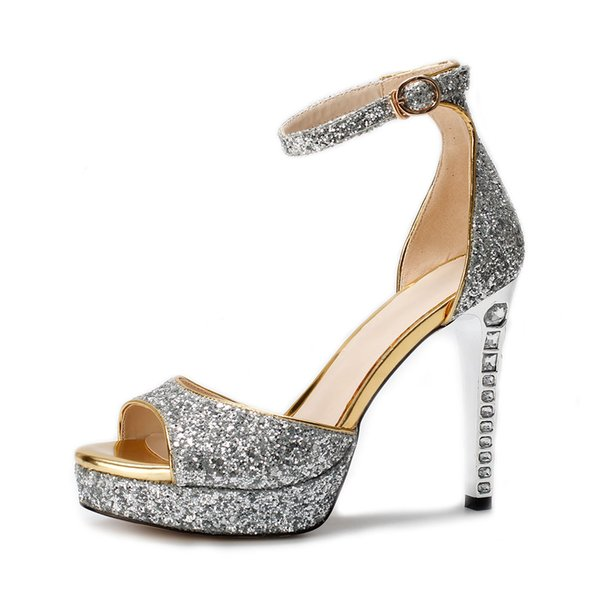 Bling Bling Silver Sequin Wedding Shoes 2019 Peep Toe High Heel Bridal Shoes With Ankle Strap Cheap Women Shoes Sandals