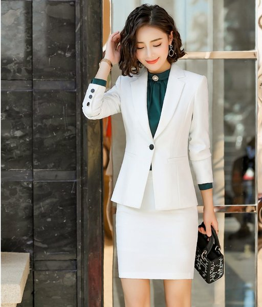 Novelty White 2019 Spring Autumn Formal Professional Business Suits With Skirt and Blazer Coat OL Styles Ladies Work Wear Sets