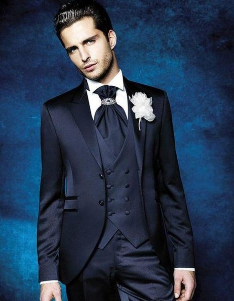 Navy Blue Formal Men Suit For Wedding 3 Pieces(Jacket+Pant+Vest+Tie) Latest Designs Slim Groom Blazer costume homme terno