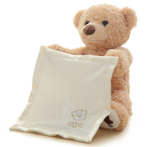 30cm Peek A Boo Teddy Bear Animali pieni e bambole di peluche Musica per bambini Istruzione Antistress Giocattoli Regali Bambini accompagnati