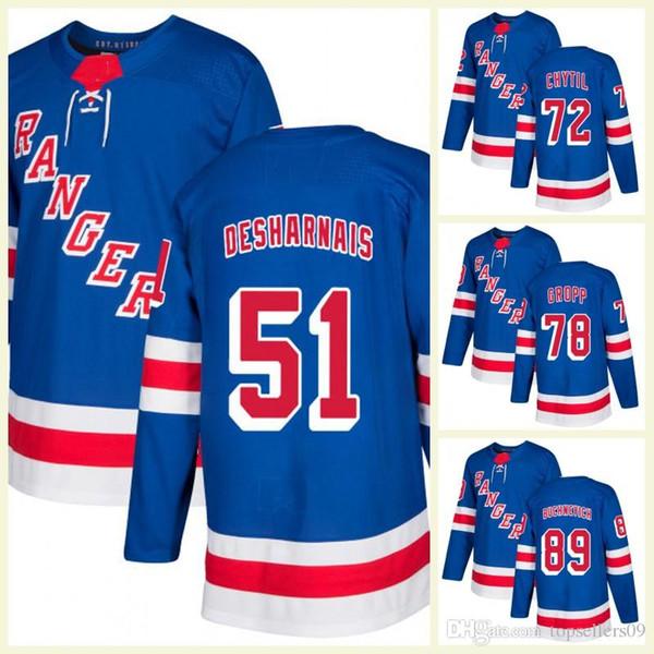 New York Rangers 27 Ryan McDonagh Hockey Jersey Filip Chytil Uomo 50 Lias Andersson 28 Paul Carey 51 David Desharnais Home Blue Maglie