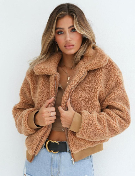 top popular Thefound 2019 New Womens Warm Teddy Bear Hoodie Ladies Fleece Zip Outwear Jacket Oversized Coats 2020