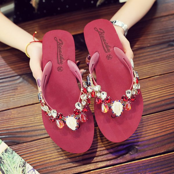 2019Summer Slippers Women Crystal Flip Flops Boho Beach Home Sandal Outdoor Ladies Casual Fashion Flats Shoes
