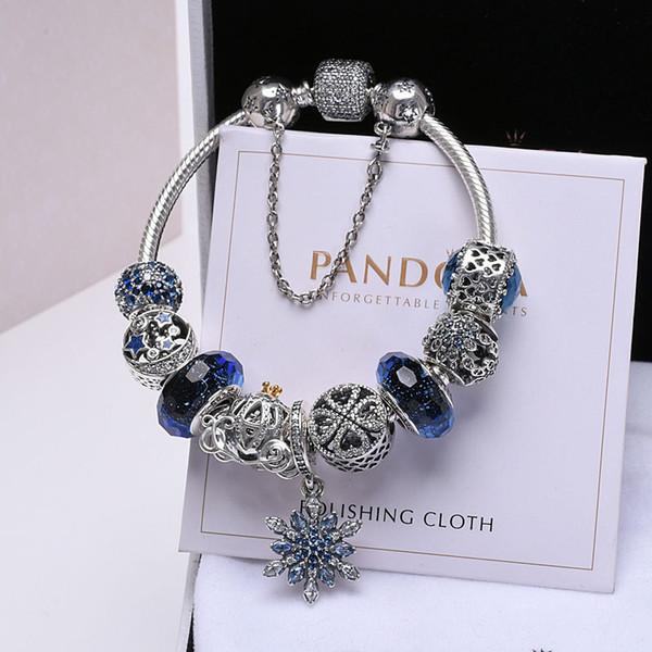 best selling 2019 new fashion luxury jewelry pandora charms Pandora Bracelet Women's Blue Ocean Heart 925 Silver Beads Completed Snake Bone Chain Bracelet