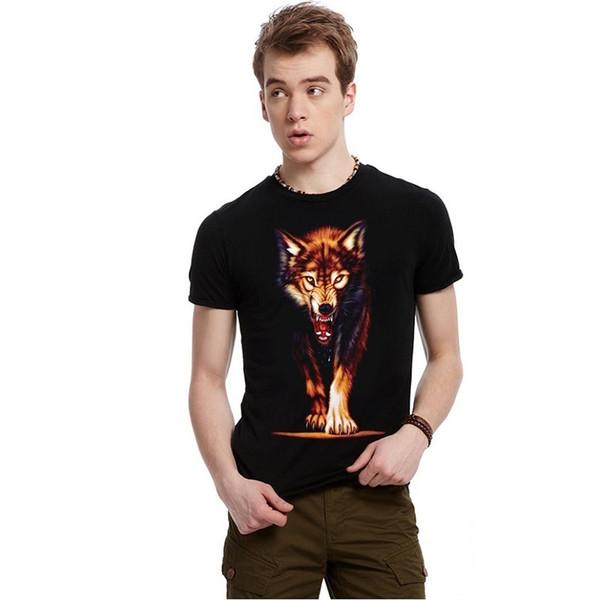 Algodón Moda Hombre Impresión digital de lobo Camisetas 3d Camiseta Casual Crop Tops Camiseta hombre Bmtx49 R