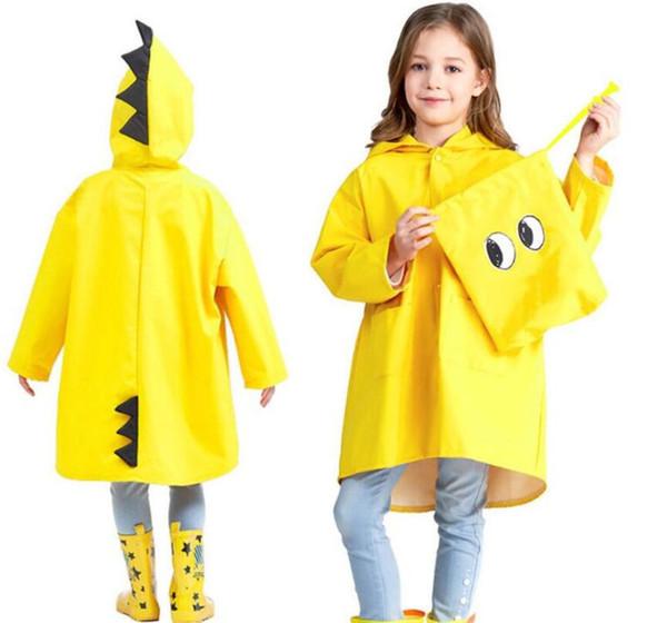 2019 Çocuklar Dinozor Kapşonlu Yağmurluk Bebek Sevimli Erkek Kız Rüzgar Geçirmez Panço Yağmurluk Çocuk Yağmurluk Yağmurluk