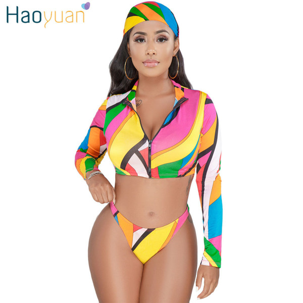 HAOYUAN Sexy 3 Piece Set Women Head Scarf+Zip Tops+Triangle Shorts Suits Boho Summer Three Piece Beach Outfits Matching Sets T5190610