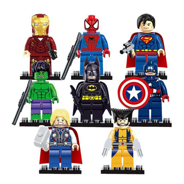 Super Heros Building Block Avengers Puzzle Captain America Hawkeye Hulk Spiderman Batman Superman X-man Thor Ironman Wolverine Marvel Toys