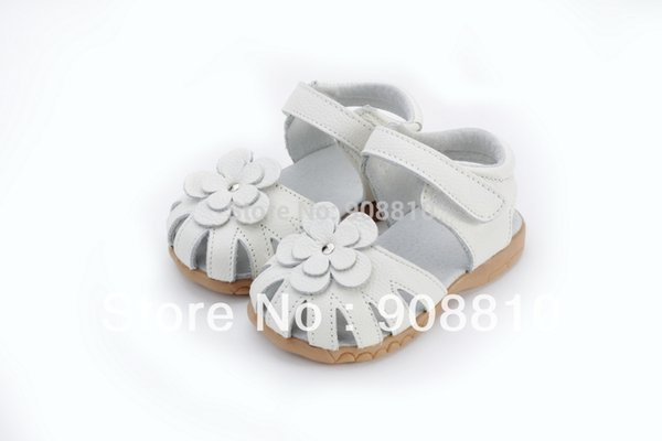 2019 New Genuine Leather Girls Sandals In Summer Walker Shoes With Flowers Antislip Sole Kids Toddler Magazine Sandal 12.3-18.3 Y190523
