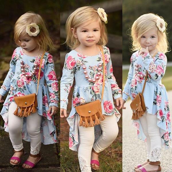 Meninas do bebê manga longa flor impressão irregular dress longo dress primavera outono crianças crianças boutique de moda roupas