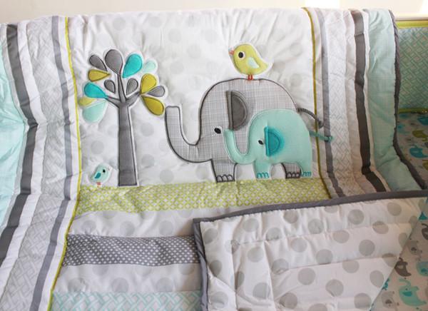 New Brand Crib bumper set for newborn Baby bedding set cotton Cot bedding set 7Pcs Quilt Bumper Skirt Embroidery 3D elephant bird