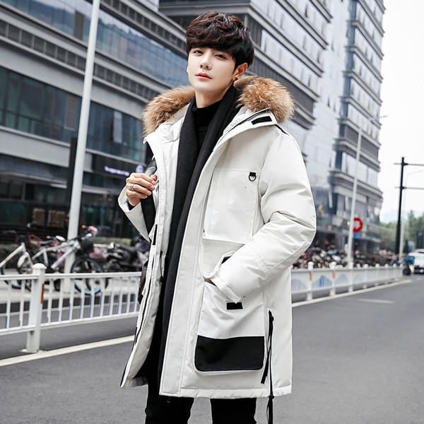 Giacca in pelle 19ss Giacca invernale Uomo Piumino d'anatra bianco Cappotto con cappuccio Cappotto Canada New Man Fashion tenere in caldo piumino d'oca