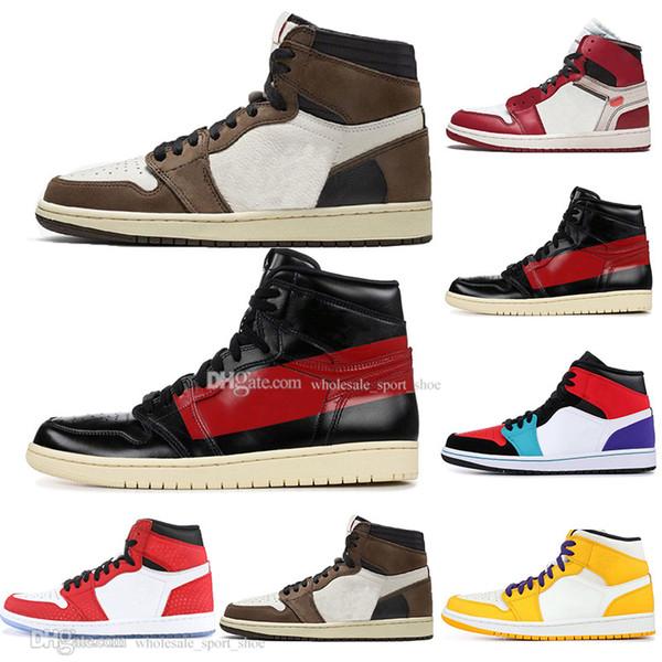 Barato 1 Alta OG Travis Scotts Homem Aranha Bred Banido Top 3 Homens Mulheres Sapatos de Basquete Azul Meninos Homens de Designer De Esportes Sneakers