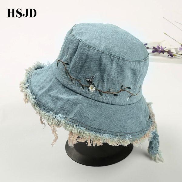2018 Unisex Washed Denim Tassel Bucket Hats Flower Bee Embroidery Wide Brim Foldable Sun Hat Anti-UV Beach Hat Female Hiking Cap