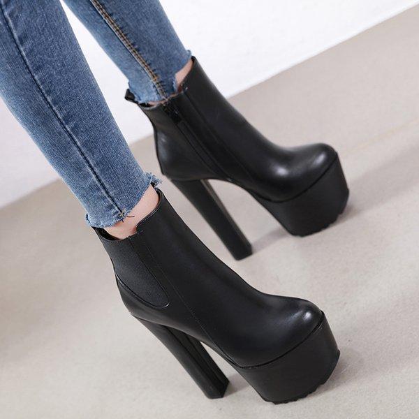 bottes femme cuir 2020 Talons hauts Bottes d'automne femme Chaussures femmes Botte courte femme Chaussures sexy bottes noires YMA923