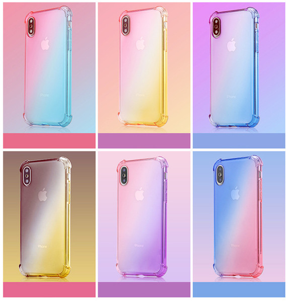 Compatible Gradient Colors Airbag Anti Shock Soft Clear Cases For iPhone 6/7/8 Plus X/Xr/Xs Max Faster Shipping