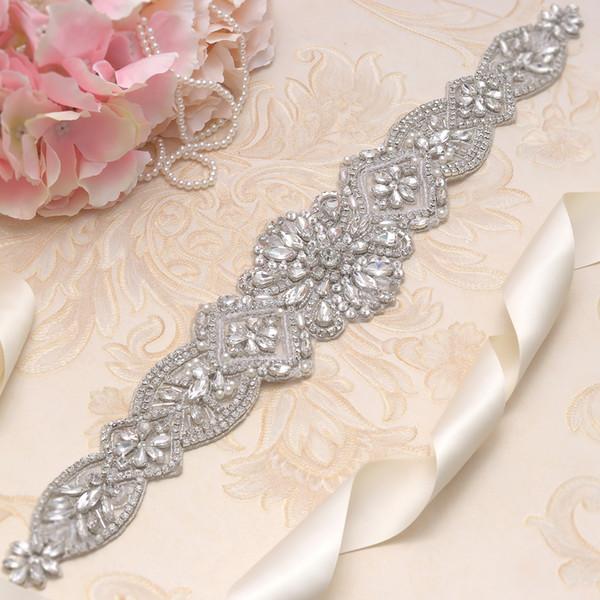 1 Stück Spitzen Handgefertigt Silber Farbe Blume Strass Elegant Applikation