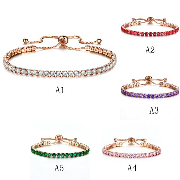 luxury austrian crystal tennis bracelets for women 1 row bling cubic zirconia gold silver adjustable bracelet bangle fashion wedding jewelry