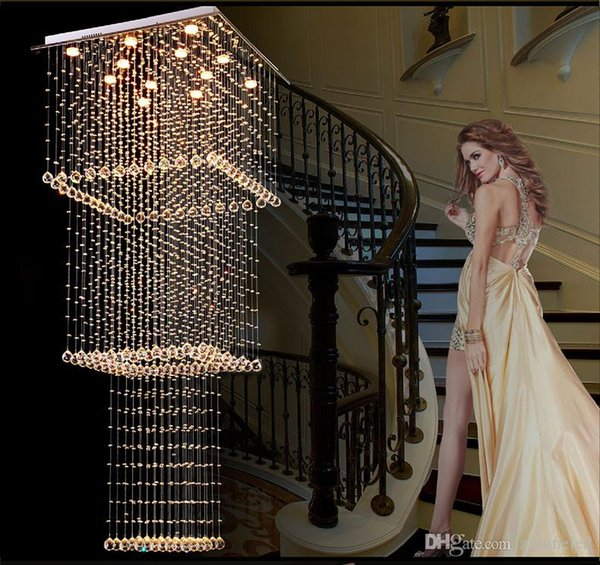 Modern Square Crystal Chandelier Lighting Stair Hanging Light Fixture LED Hallway Indoor Lighting Luminaire Suspension GU10