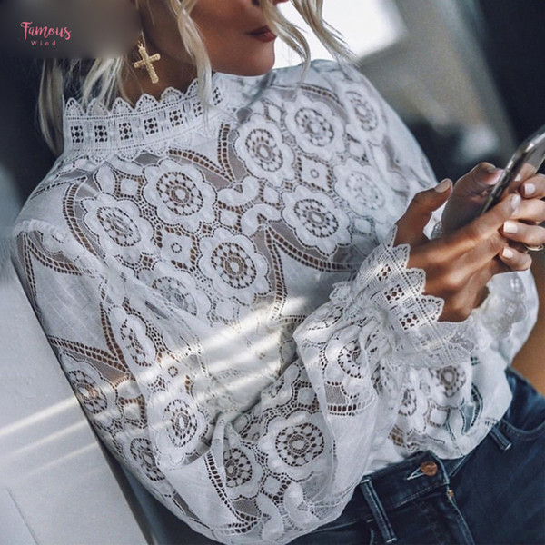 elegant white lace blouse shirt hollow out embroidery long sleeve blouse women long lantern sleeve feminine summer  female