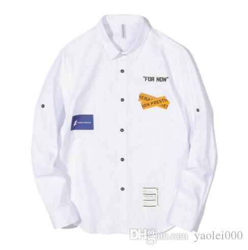 Männer weißes Hemd der neuen Männer Hemd Herbst Mode-Straße Mode Druck Buchstaben populäre Männer Langarm-Shirt