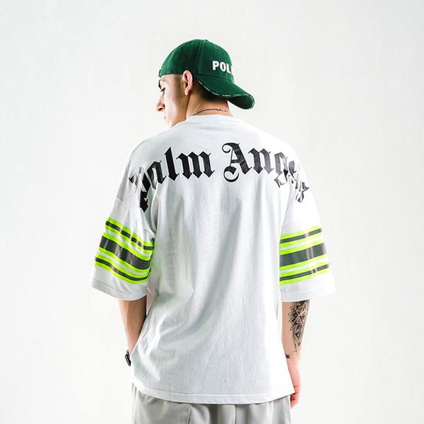 Luva dos homens negros solto Esporte curta T-shirt Letter Fashion Designer e número de impressão Tops T PALM ANJOS Verão