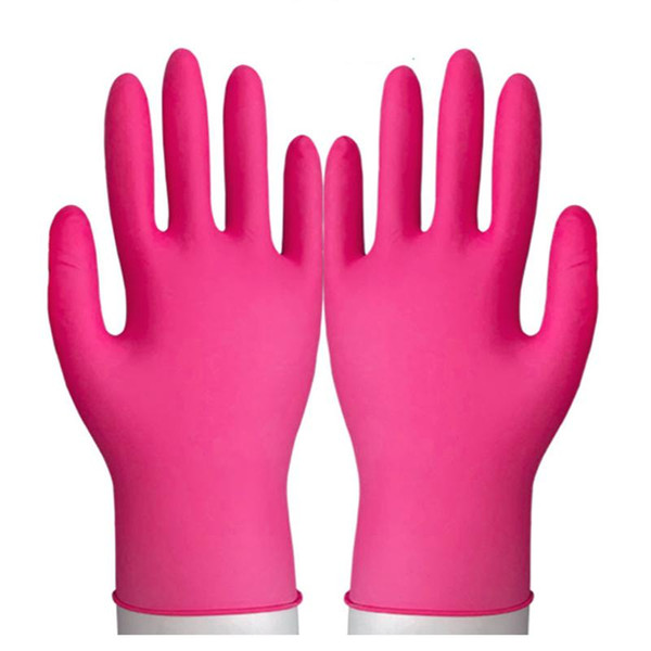 best selling 100pcs Wear-Resistant Durable Nitrile Disposable Gloves Rubber Latex Food Household Cleaning Gloves Anti-Static Pink Hand