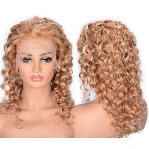 Cambodian Blonde Human Hair Wig Short Curly Lace Front Wig 27/613 Guleless Lace Wigs for Women Ping