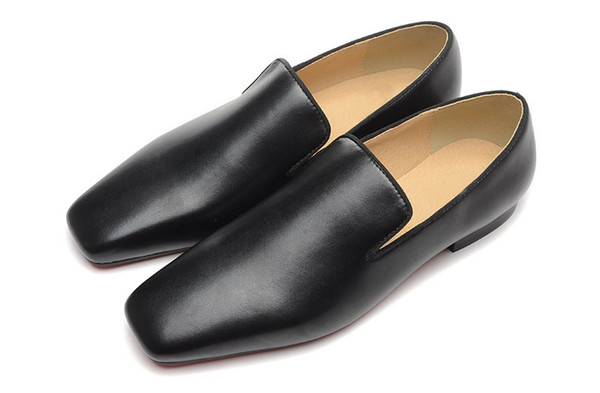 Luxury Mens Square Toe Red Bottom Oxfords Black Patent Leather Dress Shoes Designer Loafer Wedding Shoes